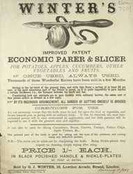 Advert for Winter's Parer & Vegetable Slicer